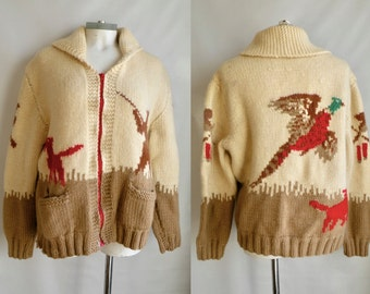 50s-70s Wool Cowichan Sweater with Hunting Pattern Dog Pheasant Bird - L