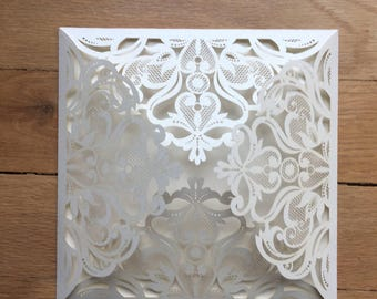 The Love Lace//A 6x6- 4 Panel Laser cut Square Invitation - Ivory Metallic