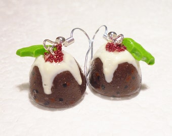 Christmas Pudding Earrings. Polymer Clay.
