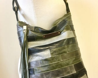 One of a kind patchwork leather handbag / bucket tote