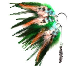 Feather Ear Cuff, Ear Cuff, Feather Earrings, Feather Ear Wrap, Festival Earrings