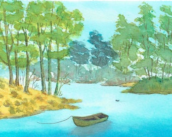 Watercolor Print, Boat on a Pond, Wall Decor