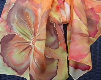 Sold. Sunny yellow hand painted silk scarf. Yellow, pink, orange flowers scarf. Multicolored floral scarf. Art scarf