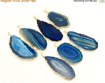 10% off Mother Day SALE Blue Agate Slice Druzy Pendant Electroplated with 24k Gold Edges - Drusy Agate Slice Pendant - AGSP