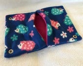 """9""""x14"""" Pocket Hammock for Pet Rats, Sugar Gliders - All Fleece Blue Hedgehogs with Fuchsia Pink Interior - Won't Fray When Chewed!"""