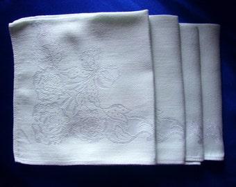 Set of 4 elegant damask napkins light mint green floral flowers and bows