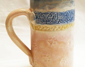 ceramic paw prints coffee mug 20oz stoneware 20D044