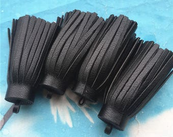 5pc 60x18.5mm black faux leather tassels charms findings