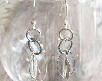 Silver Earrings - Feather Earrings - Dangle Earrings - Light Earrings - Sleek - Long - Fashion - Accessory
