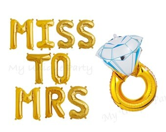 "MISS To MRS Letter Balloons Air Fill only Self-Sealing Balloons / Large 32"" Mylar Engagement Ring Balloon Helium Quality"