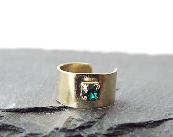 Birthstone Jewelry - No Piercing Ear Cuff - Faux Piercing - Fake Piercings - Rhinestone Earring - Ear Cuff Non Pierced - Gift for Mom
