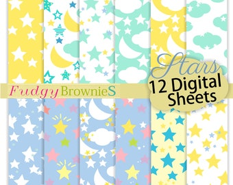 "ON SALE, Stars Digital Paper Pack, babe blue and yellow star Scrapbook Papers, digital paper pack, Size 12""x12"", No.299/2, Stars background"