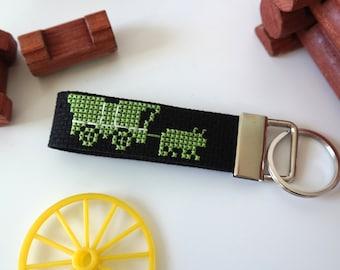 Oregon Trail cross stitch key fob | Backpack purse charm | Tech accessory