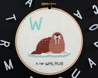W is for Walrus | Modern cross stitch | Alphabet Animalia