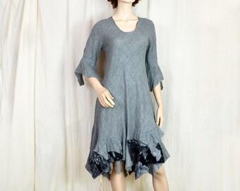 short wool dress M size grey unique fashion design, natural eco organic wearable art to wear, artsy, woman unique ooak 194