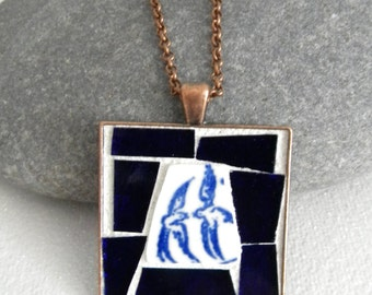 Blue Willow China Mosaic Pendant - Jewelry Necklace - Stained Glass