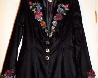Vintage Velour Long Jacket Coat Black Small  Maxi Bohemian Boho Ribbon  Flowers Mod Gypsy Chic NWT Old Stock Ribbon Flowers