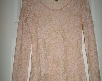 Vintage Lace Blouse Round Neck Small Long Sleeve Sheer Light Pink Lace Wedding
