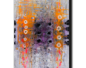 """Art Painting Canvas painting ORIGINAL  ABSTRACT  PAINTING on canvas  """"Interference of Orange"""" 36''x24'' Acrylic on Canvas"""