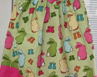 Pillowcase Dress with Bunny Rabbits- baby dress toddler -dress -girls-EASTER- dress for Easter Egg Hunt Easter Outfit Spring Dress