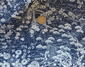 Vintage Japanese silk kimono fabric 92 cm x 36 cm rinzu blue and white flowers and wheel.