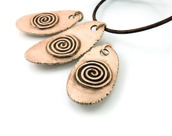 Bronze Spiral, Spiral Pendant, Bronze Necklace, Mens Necklace, Mens Spiral, Mens Bronze, Leather Necklace, Rustic Brown, 24 Inch, 1254