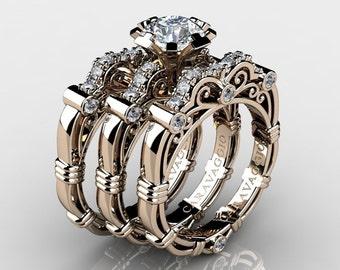 Art Masters Caravaggio Trio 14K Rose Gold 1.0 Ct White Sapphire White Diamond Engagement Ring Wedding Band Set R623S3-14KRGDWS
