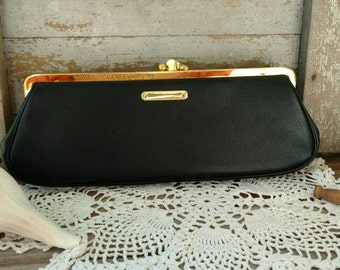 Vintage Classic Little Black Clutch + Bag - Fashion Plate Purse, Formal Handbag, Mid Century Clutch, Purse With Chain, Vintage Purse on SALE