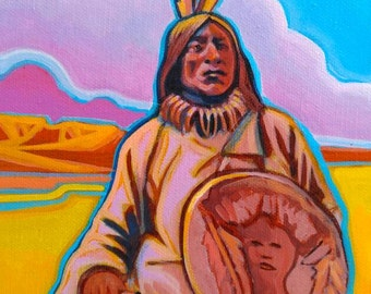 The Watcher 6x9 inch original painting Native American Art