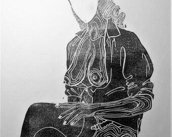"""inspiration erotique vintage linogravure imprimé à l'encre à l'huile  sur papier de riz """" Adélaide"""""""