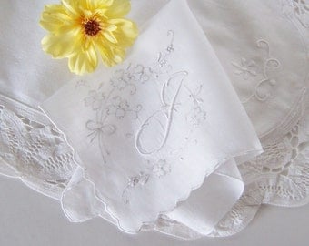 Wedding Hanky Gift for a Bride, Monogrammed J Vintage Handkerchief, Something Old Bridal Shower Gift in Ivory for a Happy Tears Keepsake
