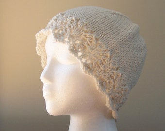 Chemo Hat Cotton Sleep Cap for Women, Knit in Cream colored soft yarn with lace edge accent, ready to ship