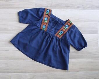 Vintage 'Flower Child' Hippie Embroidered Linen Tunic Top (3-5 Years)
