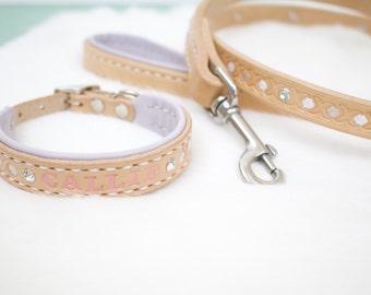 Small Leather Dog Collar and Leash Set - Vintage, purple, flowers, Girl, Female, Feminine