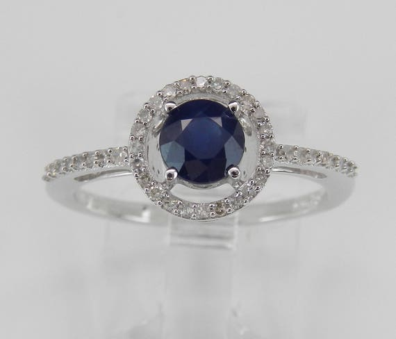 Diamond and Sapphire Halo Engagement Ring White Gold Size 6 September Birthstone
