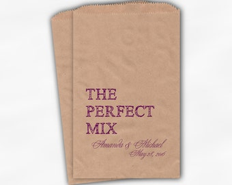 The Perfect Mix Candy Buffet Treat Bags - Magenta Personalized Wedding Favor Bags with Names and Date - Custom Kraft Paper Bags (0178)