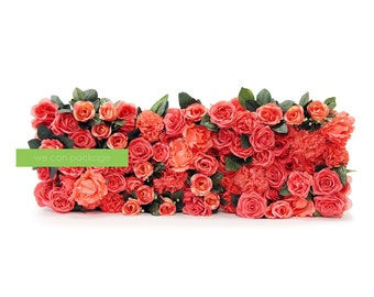 Coral Rose Flower Wall - Artificial Flower Panels - Wedding & Event Decor - Photo Backdrop