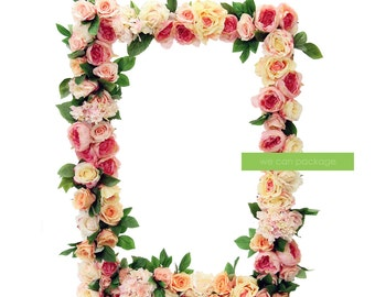 """Artificial Flower Photo Prop Frame - Large Wedding Picture Frame - Photo Booth Frame - 30"""" x 42"""""""