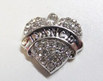 """3/4"""" Silver Plated Rhinestone Dance Charm/Pendant, (Y39)"""