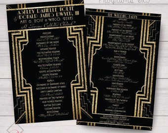 Gatsby, Roaring 20s Style Event Programs. Color, Font, Text Changes Free. Gold/Black Cream/Silver Shown. Printed or Digital Available