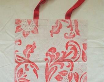 Hand block printed red calico tote bag