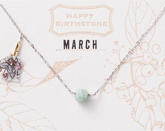 March Birthstone Necklace : Aquamarine with Liberty Tassel