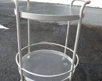 nice shape vintage ROUND wavy glass patio kitchen dining BAR CART        pick up only mt bethel pa