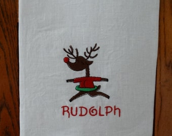 Christmas RUDOLPH REINDEER TOWEL embroidered christmas guest towel hostess gift holiday decor santa gift under 20 bar towel  oba canvas co