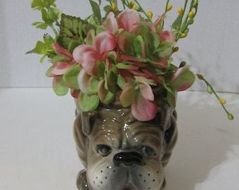 Vintage Bulldog Planter Airbrush