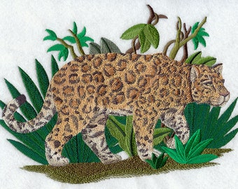 Prowling Jaguar Embroidered on Kona Cotton Quilt Block // Plain Weave Cotton Dish Towel // Also Available on Other Items