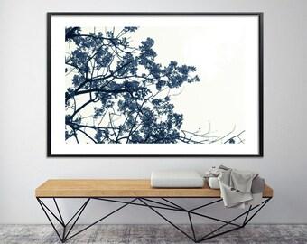Extra large botanical print large Canvas art 60x40 oak tree print, nature prints, minimalist poster, black and white prints by Duealberi