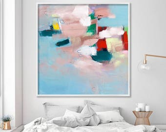 Large GICLEE print from abstract painting, modern Painting, Abstract Art, Light Blue, Beige