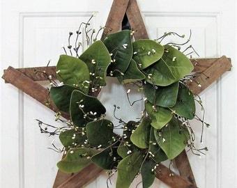Farmhouse Star - Magnolia Wreath - Rustic Farmhouse - Front Door Decor - Rustic Star Wreath - Magnolia Leaf - Tobacco Lathe Star Texas Star
