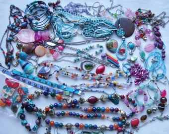 Destash Jewelry Lot Wearable Colorful Beads Parts Pieces over 1 pound *SALE